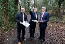 Martin Dalby, CEO Center Parcs with An Taoiseach Enda Kenny and Mark Foley, Managing Director Coillte Land Solutions