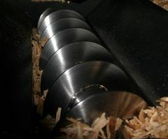 Picture of an auger from a biomass boiler