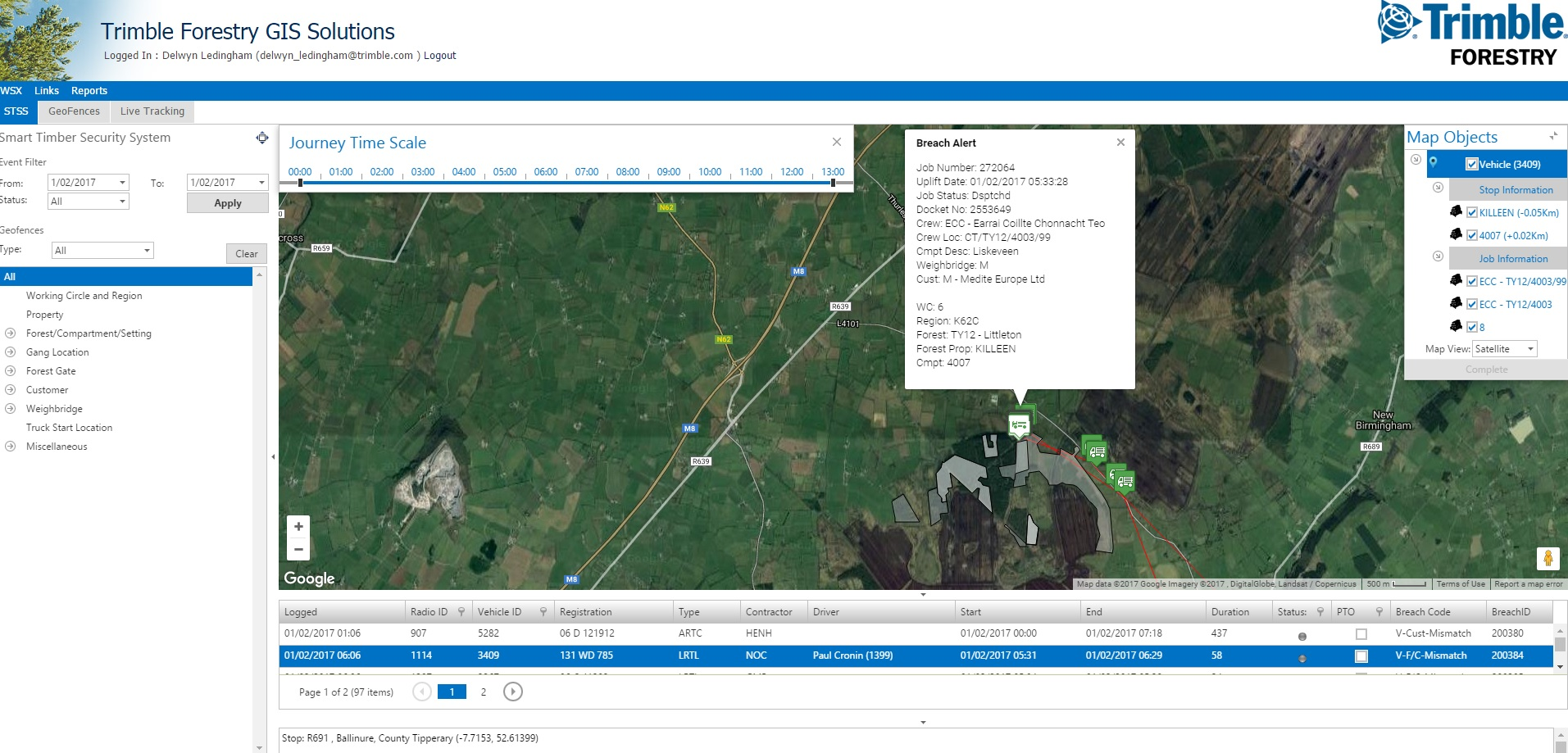 Picture of screen shot of Trimble forest Technology