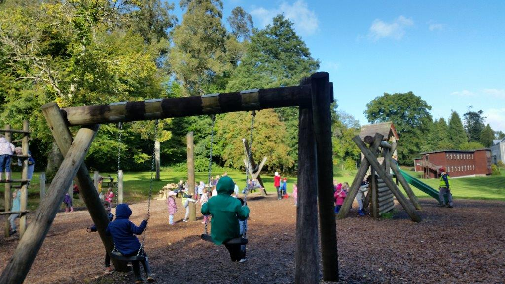 Children in Playground at Coillte'f forest park in Avondale for Tree Day 2017