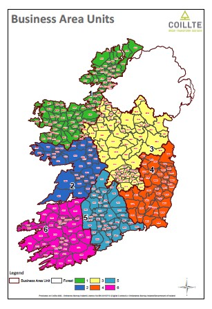 Map of Ireland showing Coillte's 6 BAUS