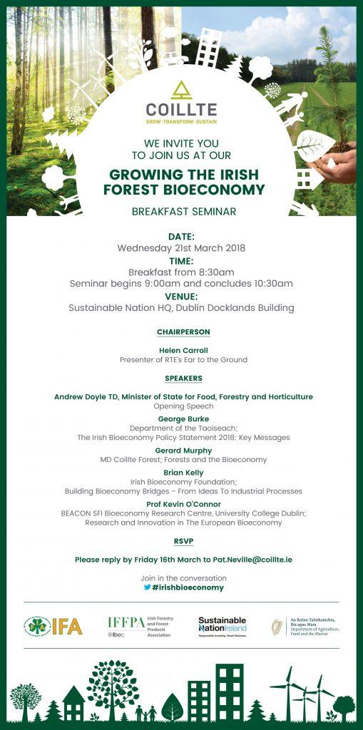 Poster of Coillte Forest Bioeconomy Seminar