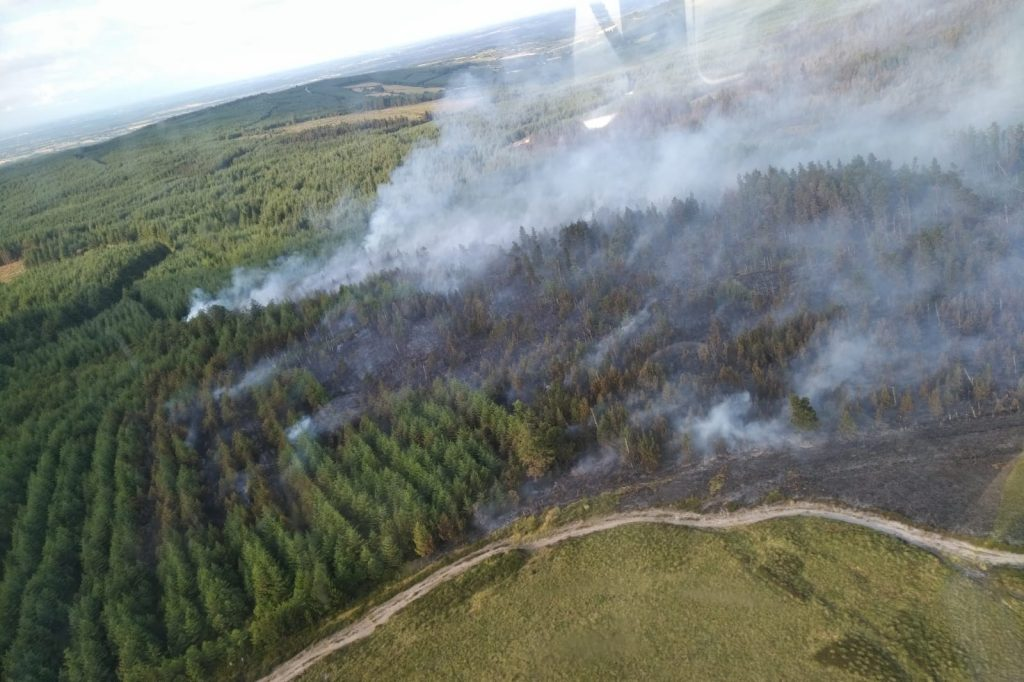 Aerial picture of forest fire in the Slieve Bloom mountains