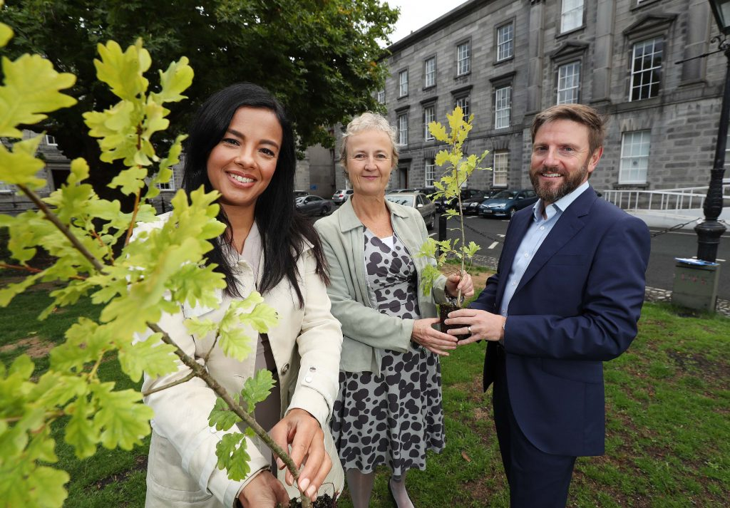Liz Bonnin, Biochemist and BBC TV presenter (left) with Aileen O'Sullivan, Coillte Ecologist and Ciaran Fallon, Head of External Affairs at Coillte (right), pictured at the Biodiversity at Coillte event 2018, in the Science Gallery, Trinity College Dublin. Pic. Robbie Reynolds