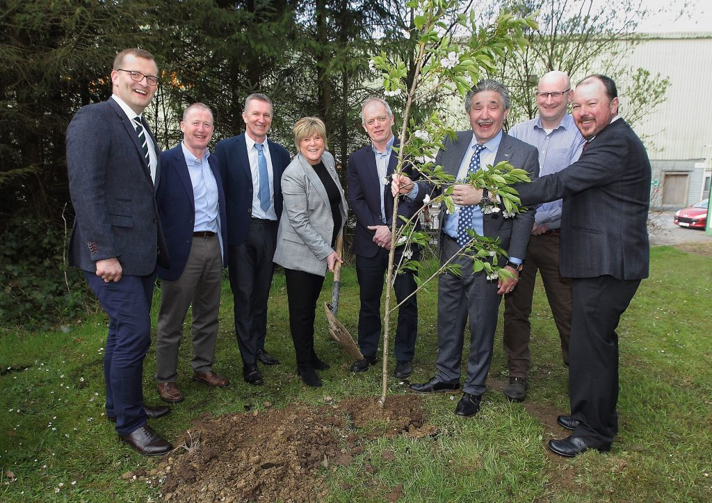 Picture of 08/04/2019 Mary Butler TD (Waterford) about to plant a tree at Smartply, Belview Port, Waterford prior to a tree planting ceremony to mark National Tree Week 2019 in the company of from L-R, John Paul Phelan, Minister of State, Department of Housing, Planning and Local Government with special responsibility for Local Government and Electoral Reform, Pat Beardmore, COO, Medite Smartply, Neil Foot, Managing Director, Medite Smartply, Pat Trihy, Finance and Procurement, Smartply, John Halligan, Minister of State, Department of Enterprise and Innovation, and the Department of Education and Skills with special responsibility for Training, Skills, Innovation, Research and Development, Pat Breen, Operations Manager, Smartply and Pat Neville, Communications Manager, Coillte. Picture:Noel Browne