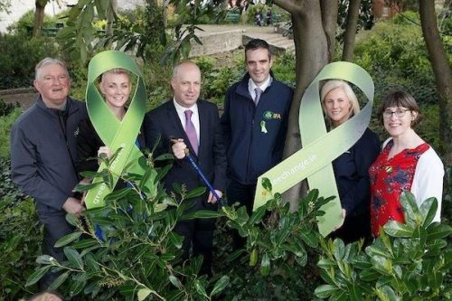 Minister Daly With Represemtatives From Coillte, Mental Health Ireland, See Change and IFA At The Launch Of The Green Ribbon - Lets Talk and Walk In Merrion Square