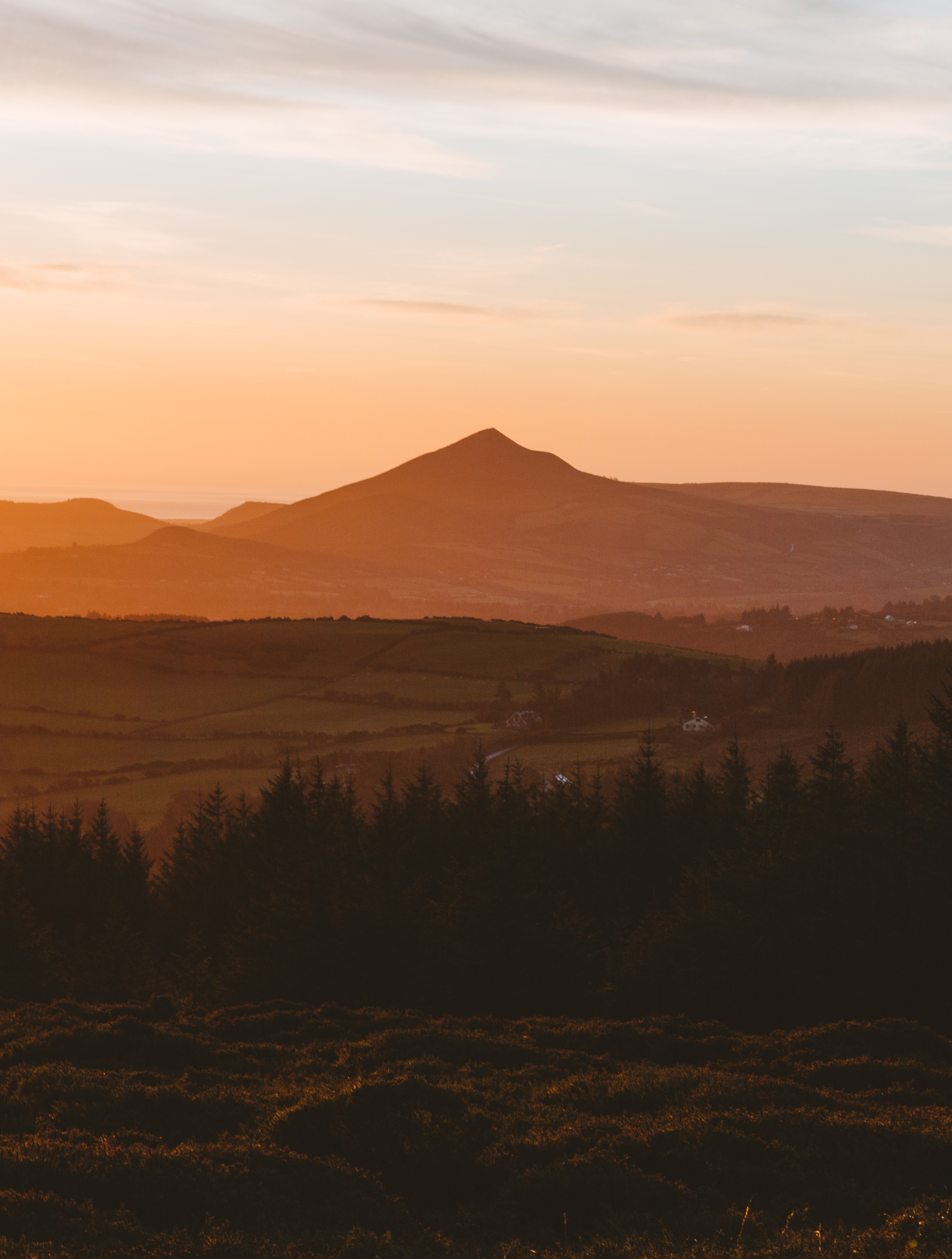 Picture of sun rising over Coillte Dublin Mountains Forests