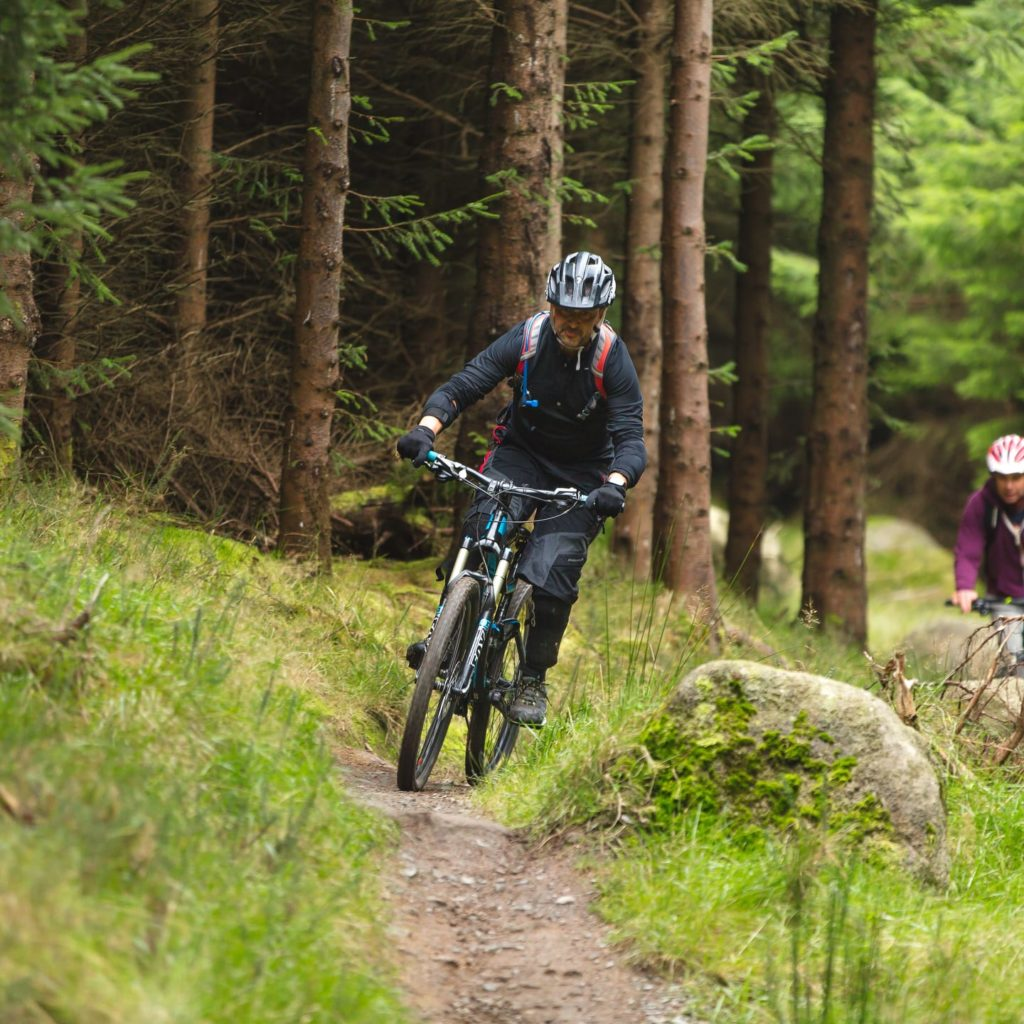 Mountain biker riding through forest