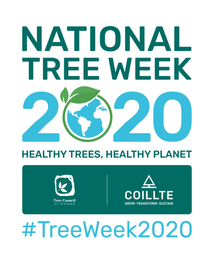 Logo showing national tree week 2020; sponsored by Coillte in partnership with the tree council of Ireland; the theme is healthy tree healthy planet