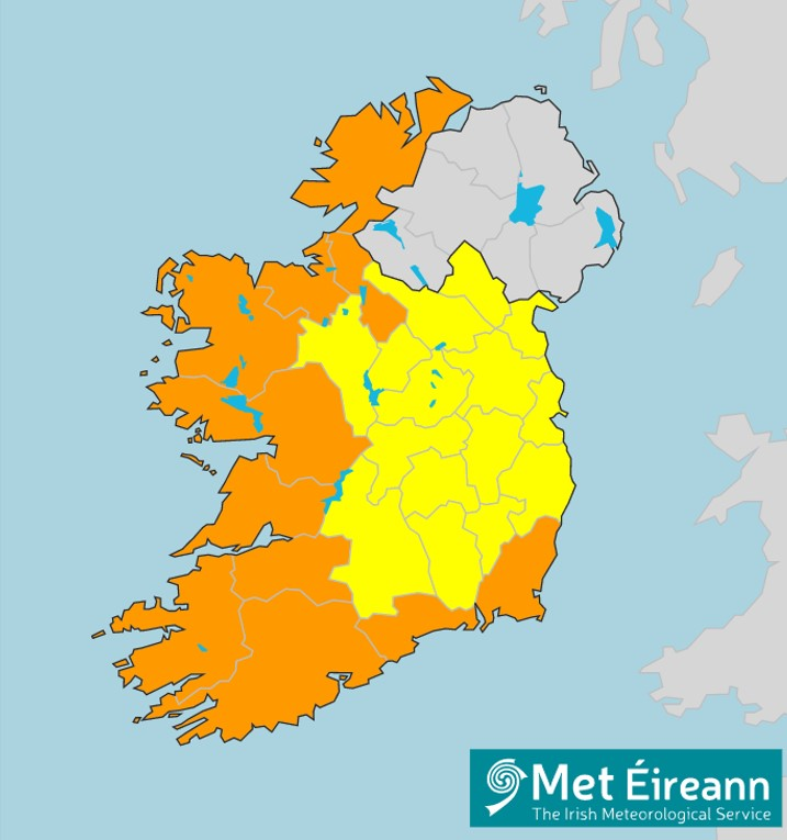 Map of Ireland showing western and southern counties at risk of high winds from storm Dennis