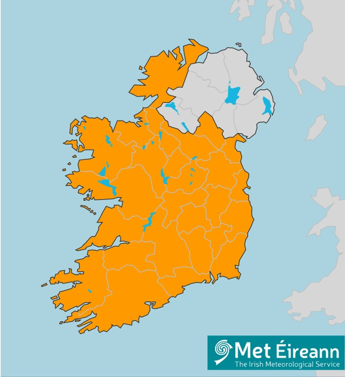 map of ireland showing all counties affected by storm ciara