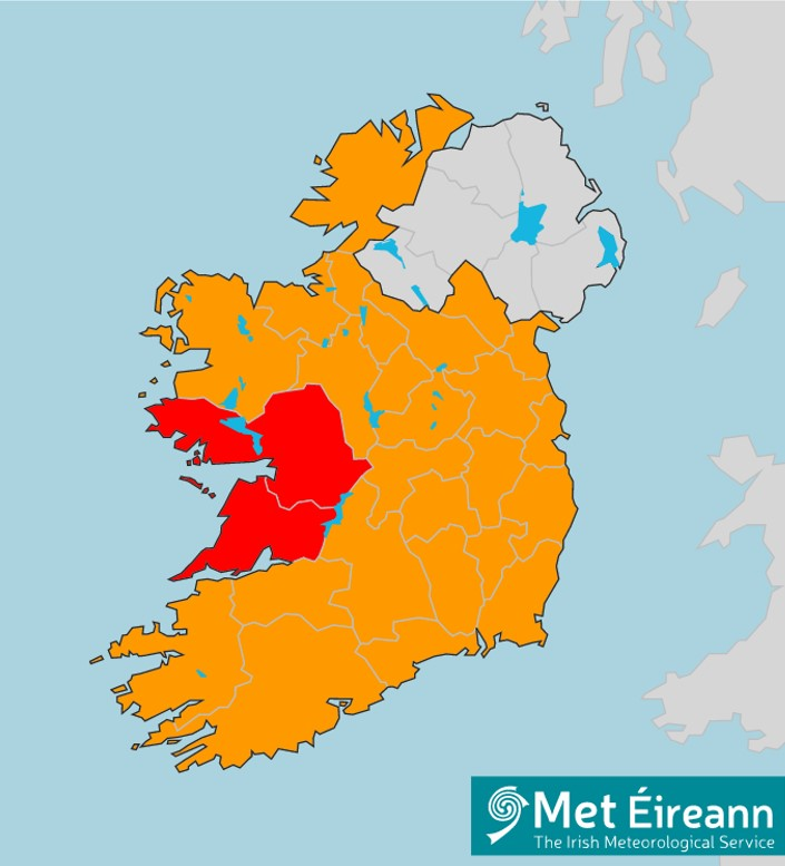 map of ireland showing red warning for storm jorge