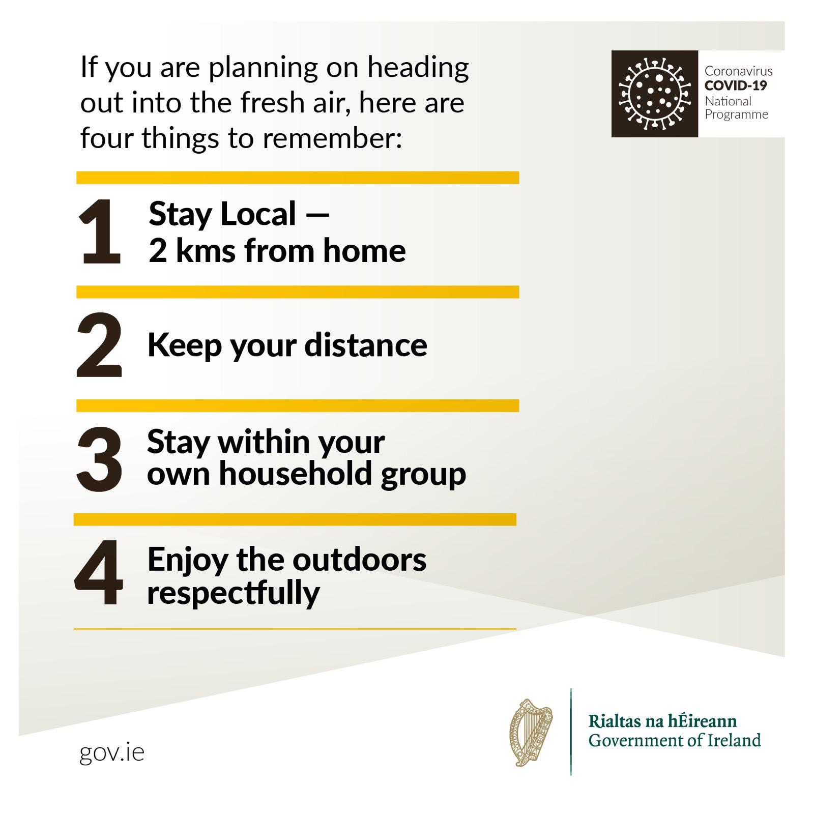 picture telling people to stay local, keep their distance, stay with your won group and use the outdoors respectfully during covid-19