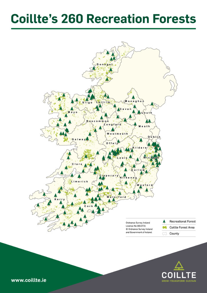 Map of Ireland showing the location of all of Coillte's 260 recreation forests