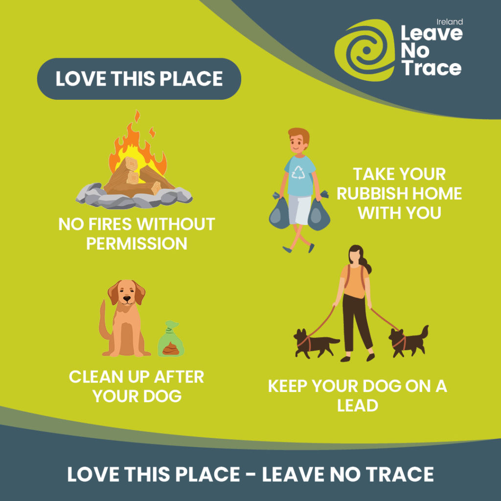 Graphic asking people not to light fires, bring litter home and clean up and keep dogs under control